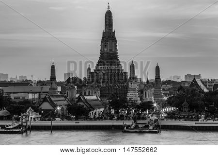 Black and White, Arun temple river front, Bangkok Landmark of Thailand