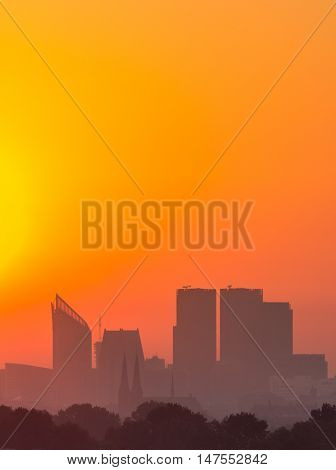Tall buildings of the The Hague CBD at sunrise