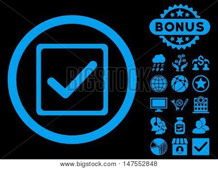 Checkbox icon with bonus elements. Vector illustration style is flat iconic symbols, blue color, black background.