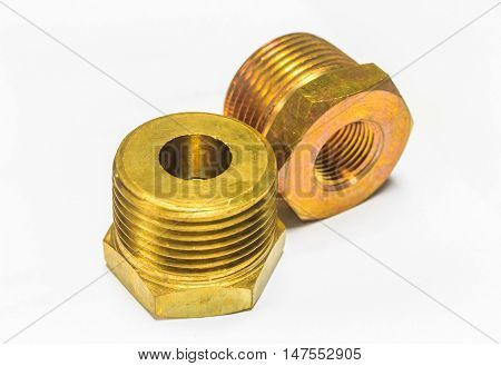 Brass fitting, union and gate valve. on white background