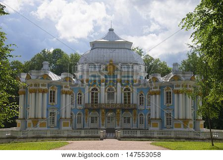 SAINT PETERSBURG, RUSSIA - JULY 10, 2015: The Hermitage pavilion in the Catherine Park of Tsarskoye Selo, the cloud by day. Historical landmark of the city Saint Petersburg