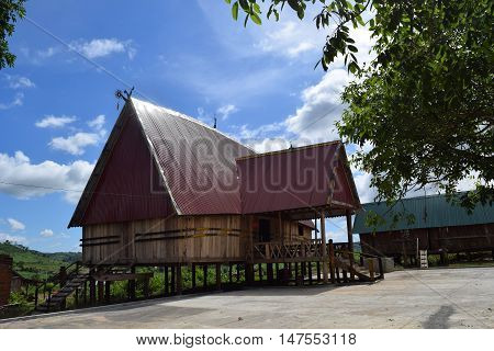 traditional Rong house in ethnic villages in highland Vietnam. This communal house used for festivals and village meetings of the Bahnar Jarai and other ethnic minorities