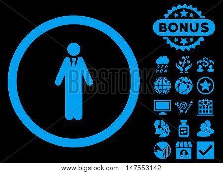 Clerk icon with bonus images. Vector illustration style is flat iconic symbols, blue color, black background.