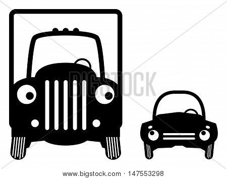 Big truck and small car, vector illustration