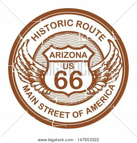 Abstract grunge rubber stamp with the text Historic Route 66, Arizona, vector illustration
