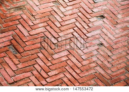 Old Red Brick Cobblestone Pattern