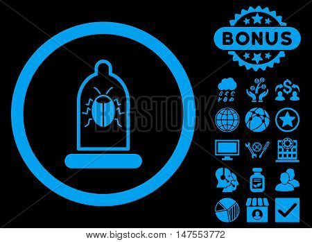 Condom Bug icon with bonus pictogram. Vector illustration style is flat iconic symbols, blue color, black background.