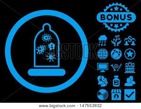Condom Microbes icon with bonus design elements. Vector illustration style is flat iconic symbols, blue color, black background.