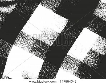 Distressed overlay texture of weaving fabric tartan plaid. grunge background. abstract halftone vector illustration