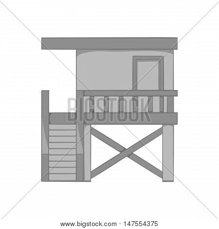 Rescue booth on the beach icon in black monochrome style isolated on white background. Observation symbol vector illustration