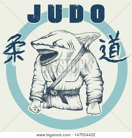 Shark practicing judo. Hand drawn style.Vector label for judo design