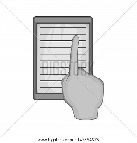 E-book and hand icon in black monochrome style isolated on white background. Reading symbol vector illustration