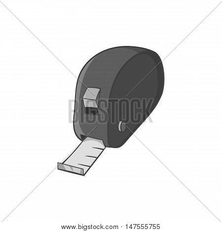 Measuring tape icon in black monochrome style isolated on white background. Measurement symbol vector illustration
