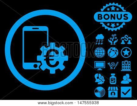 Configure Mobile Euro Bank icon with bonus images. Vector illustration style is flat iconic symbols, blue color, black background.