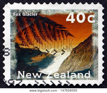NEW ZEALAND - CIRCA 1996: a stamp printed in New Zealand shows Fox Glacier Scenic View circa 1996