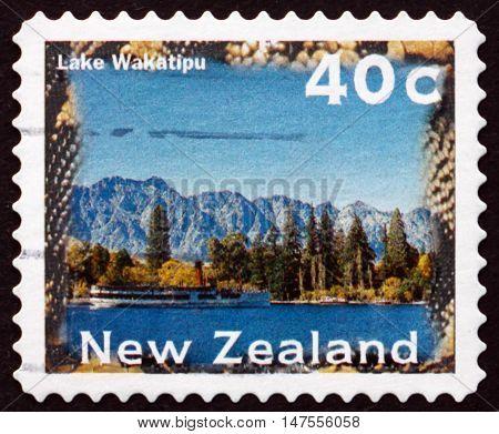 NEW ZEALAND - CIRCA 1996: a stamp printed in New Zealand shows Lake Wakatipu Scenic View circa 1996