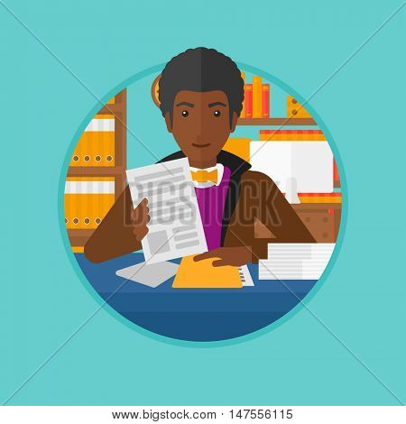 An african human resources manager reading application portfolios in the office. Concept of recruitment of staff, job interview. Vector flat design illustration in the circle isolated on background.