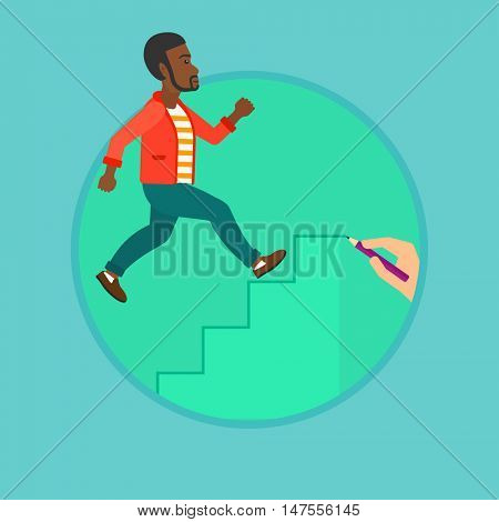 An african-american businessman running upstairs drawn by hand with pencil. Man climbing to success. Concept of business career. Vector flat design illustration in the circle isolated on background.