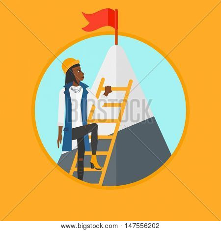 An african-american business woman climbing the ladder to get the red flag on the top of mountain. Concept of business career. Vector flat design illustration in the circle isolated on background.