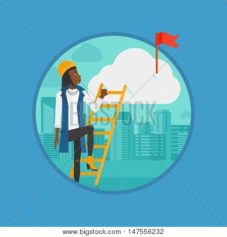 An african-american business woman climbing the ladder to get a red flag on the top of cloud. Concept of business goal, career. Vector flat design illustration in the circle isolated on background.