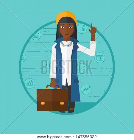 An african-american business woman with briefcase pointing at cogwheels. Woman standing on a blue background with business icons. Vector flat design illustration in the circle isolated on background.