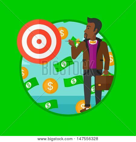 An african-american businessman aiming at a target board. Businessman standing under money rain. Concept of business success. Vector flat design illustration in the circle isolated on background.