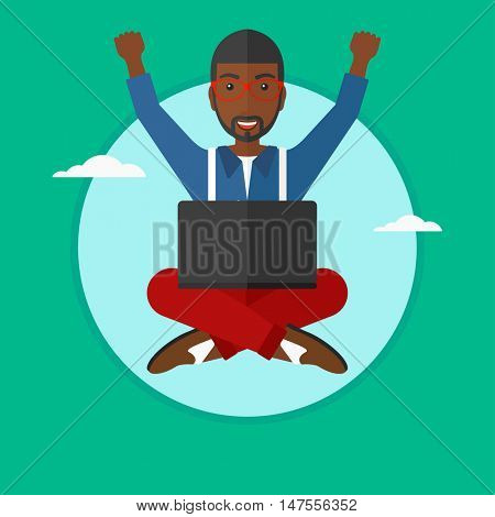 An african-american happy businessman with raised hands sitting on a cloud with a laptop on his knees. Concept of online business. Vector flat design illustration in the circle isolated on background.