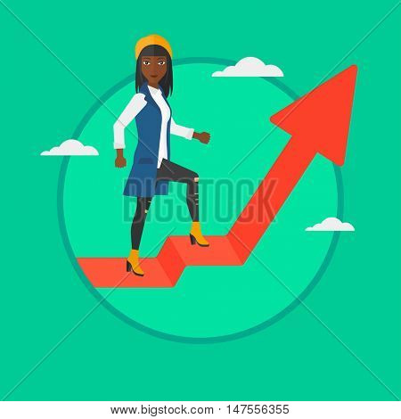 An african-american business woman standing on an uprising arrow. Successful young business woman standing on arrow going up. Vector flat design illustration in the circle isolated on background