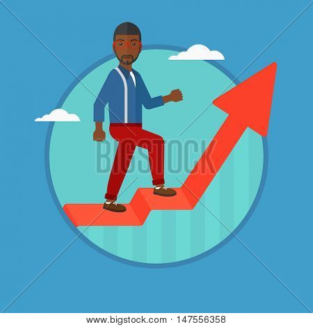 An african-american businessman standing on an uprising chart. Businessman standing on chart going up. Concept of business success. Vector flat design illustration in the circle isolated on background