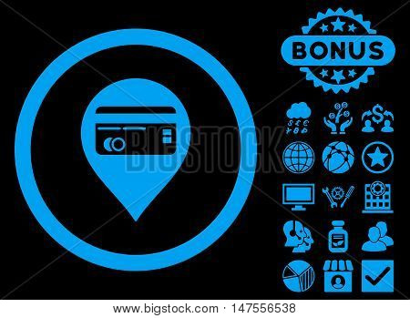 Credit Card Pointer icon with bonus pictures. Vector illustration style is flat iconic symbols, blue color, black background.