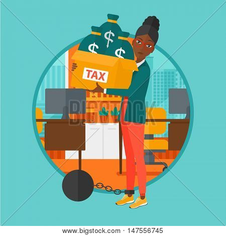 Chained to a large ball an african-american business woman standing in the office and carrying heavy box with bags full of taxes. Vector flat design illustration in the circle isolated on background.