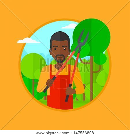 An african-american man working in the garden with pruner. A gardener is going to trim branches of a tree. Gardener pruning a tree. Vector flat design illustration in the circle isolated on background