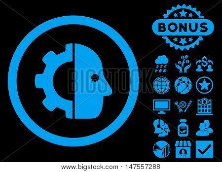 Cyborg icon with bonus images. Vector illustration style is flat iconic symbols, blue color, black background.