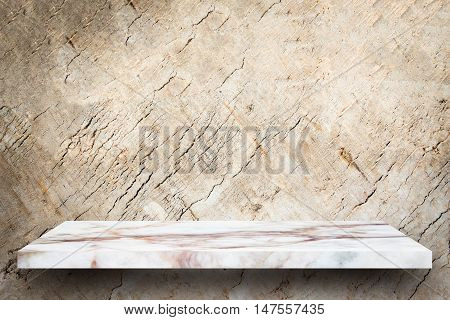 Empty top marble shelves and ground wall background / for product display montage product display