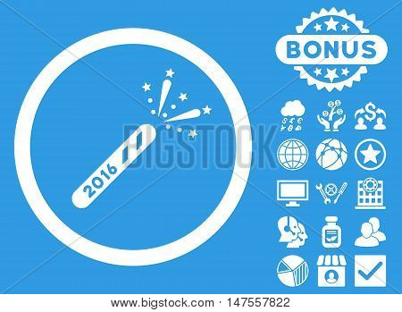2016 Firecracker icon with bonus images. Vector illustration style is flat iconic symbols, white color, blue background.