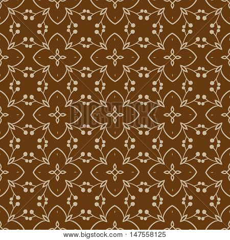 Vector patern with ethno elements on brown background
