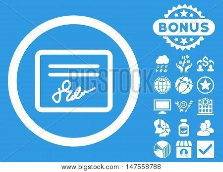Agreement icon with bonus pictogram. Vector illustration style is flat iconic symbols, white color, blue background.
