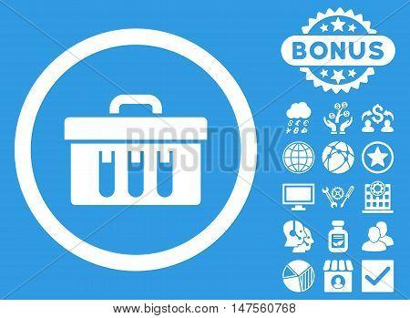 Analysis Box icon with bonus images. Vector illustration style is flat iconic symbols, white color, blue background.