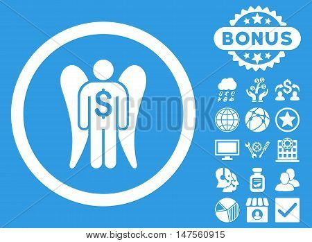 Angel Investor icon with bonus elements. Vector illustration style is flat iconic symbols, white color, blue background.