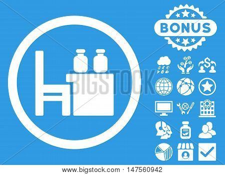 Apothecary Table icon with bonus design elements. Vector illustration style is flat iconic symbols, white color, blue background.