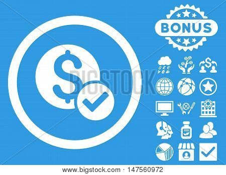 Approved Payment icon with bonus symbols. Vector illustration style is flat iconic symbols, white color, blue background.