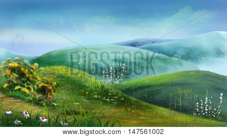 Beautiful view of idyllic landscape with fresh green meadows full of blooming flowers on a sunny day with blue sky and clouds in summertime. Digital Painting Background Illustration.