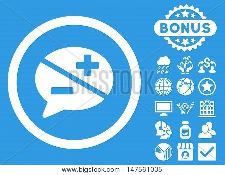 Arguments icon with bonus design elements. Vector illustration style is flat iconic symbols, white color, blue background.