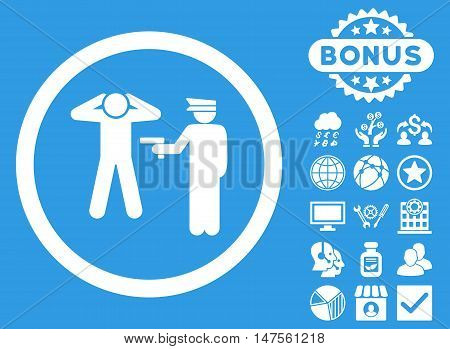 Arrest icon with bonus design elements. Vector illustration style is flat iconic symbols, white color, blue background.