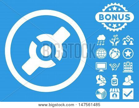 Artificial Joint icon with bonus elements. Vector illustration style is flat iconic symbols, white color, blue background.