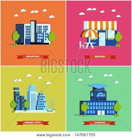 Modern cityscape vector illustration. City buildings set in flat style. Hospital, bistro, smart city and school. Colorful design