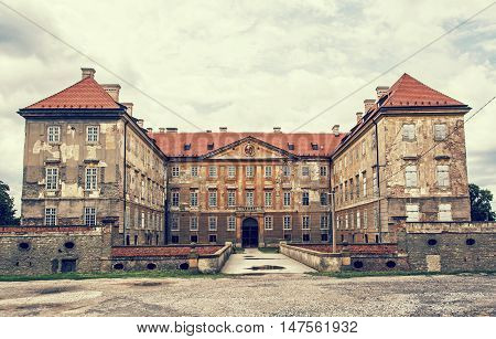 Old castle in Holic Slovak republic. Retro photo filter.