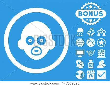 Baby Head icon with bonus symbols. Vector illustration style is flat iconic symbols, white color, blue background.