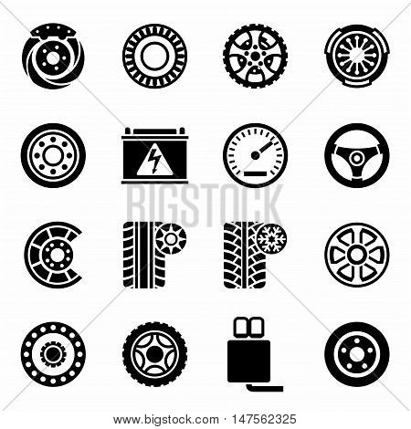 Vector Car parts icon set on white background