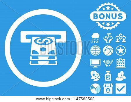 Bank Cashpoint icon with bonus pictures. Vector illustration style is flat iconic symbols, white color, blue background.